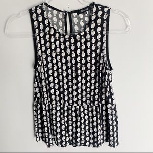 Madewell Ruffle Tank Top In Bloomstamp Print